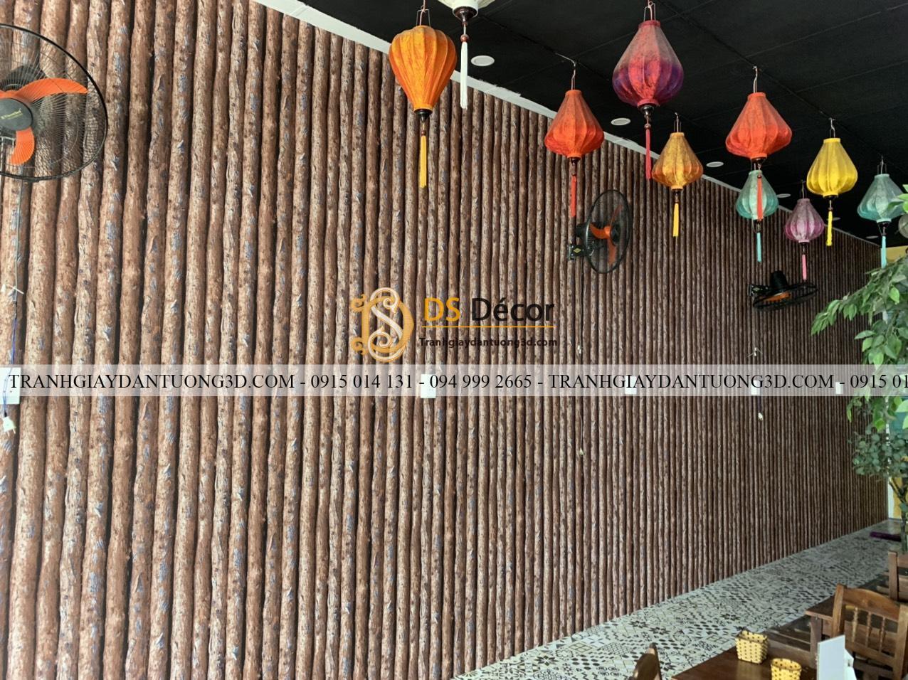 Giấy dán tường giả thân gỗ dọc nâu 3D198 quán ăn