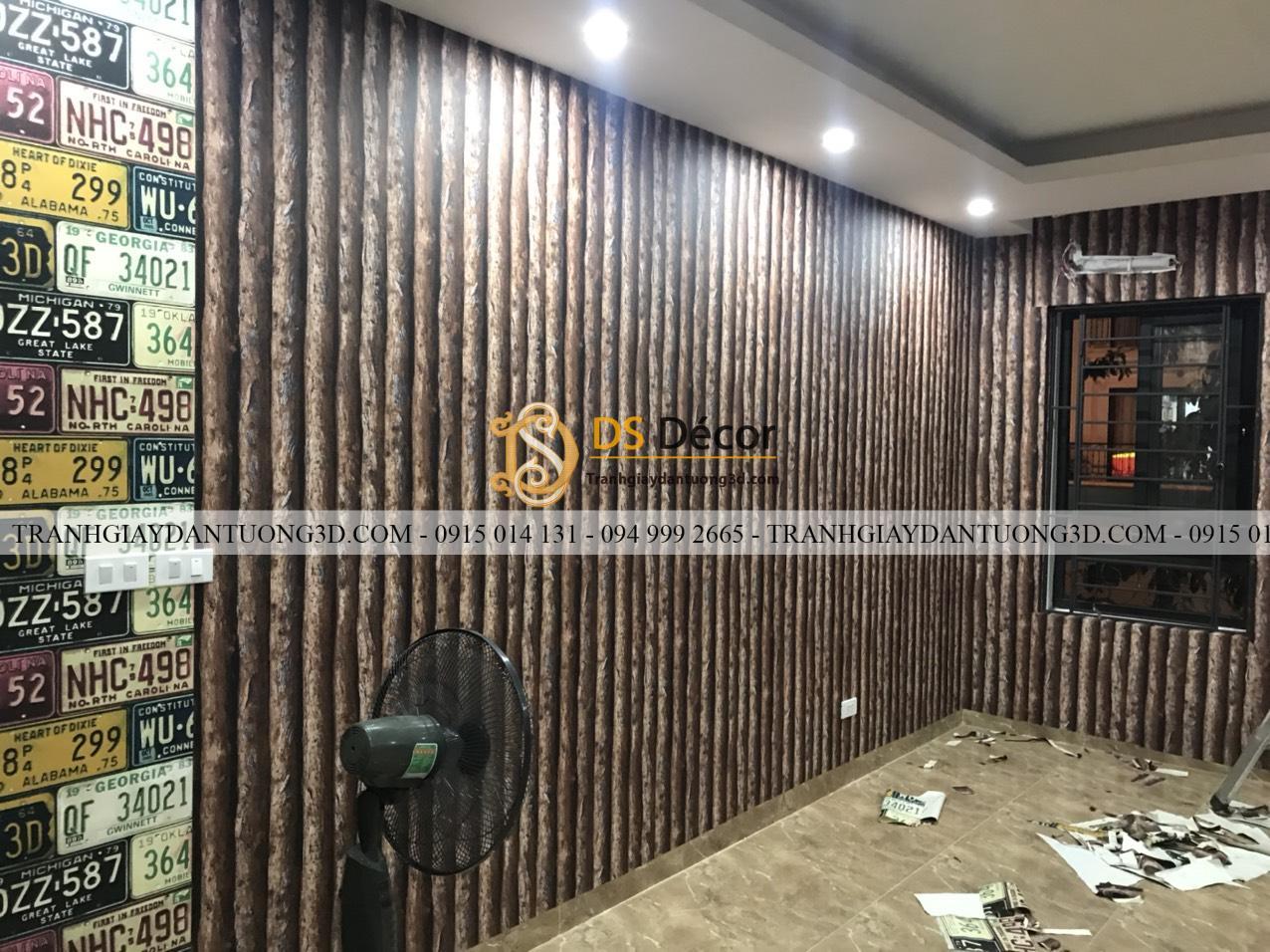 Giấy dán tường giả thân gỗ dọc nâu 3D198