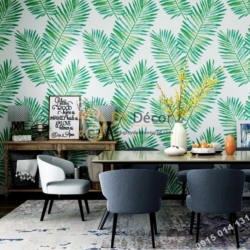 Giấy dán tường lá vạn tuế xanh 3D209 trang trí phòng ăn