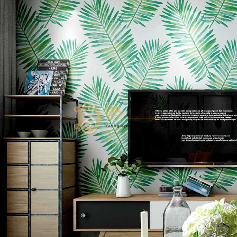 Giấy dán tường lá vạn tuế xanh 3D209 trang trí phòng khách