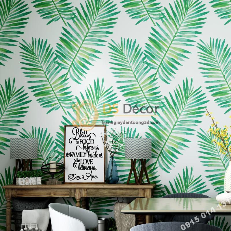 Giấy dán tường lá vạn tuế xanh 3D209
