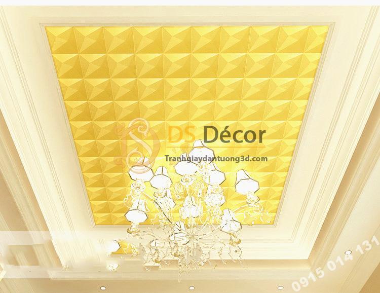 Giấy dán tường dán trần 3D200 màu vàng