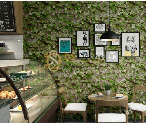 Giấy dán tường 3D giả lá cây retro cho nhà hàng quán ăn nhanh 3D206-111