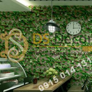 Giấy dán tường 3D giả lá cây retro cho nhà hàng quán ăn nhanh 3D206-112