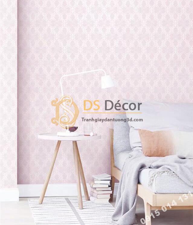 Giấy dán tường hàn quốc hoa cổ điển 3DH05 màu hồng