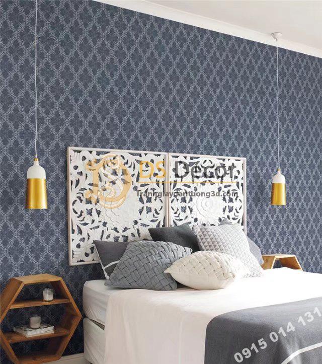 Giấy dán tường hàn quốc hoa cổ điển 3DH05 màu xanh đậm
