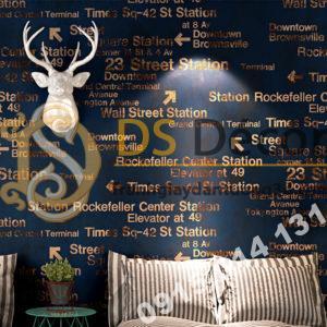 Giấy dán tường chữ cái Phong cách retro 3D207 màu tím