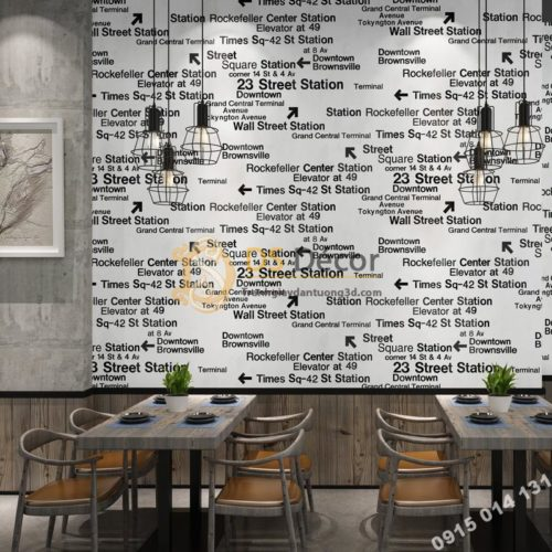Giấy dán tường chữ cái Phong cách retro 3D207 màu trắng