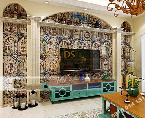 Giấy dán tường giả gạch Bohemian Tây Tạng độc đáo 3D208 màu nâu phòng khách