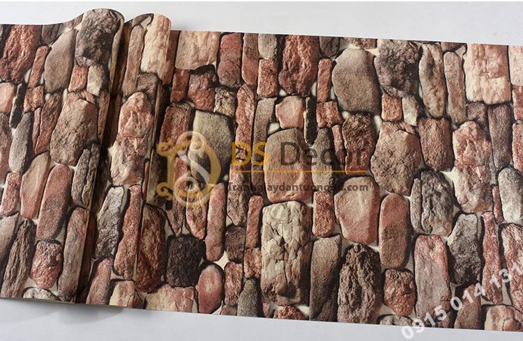 Mặt Giấy dán tường giả đá 3D màu đỏ 3D192