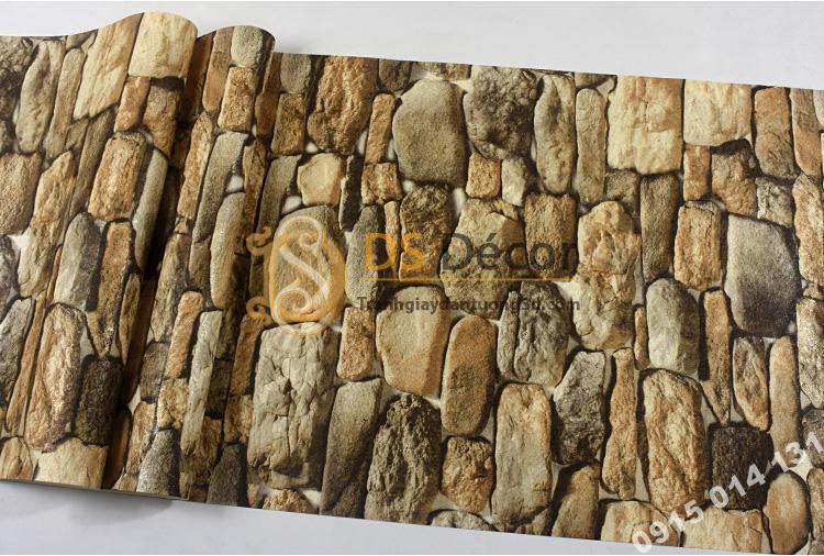 Mặt Giấy dán tường giả đá 3D màu vàng 3D192