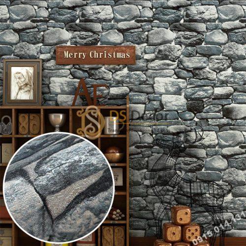 Giấy dán tường giả đá 3D màu xám 3D192