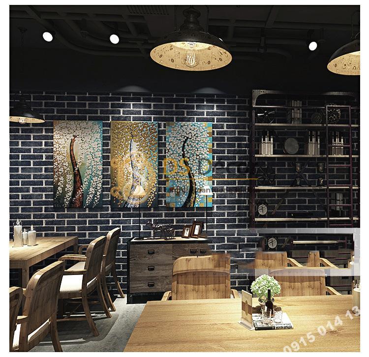 Giấy dán tường giả gạch đen 3D191 trang trí nhà hàng
