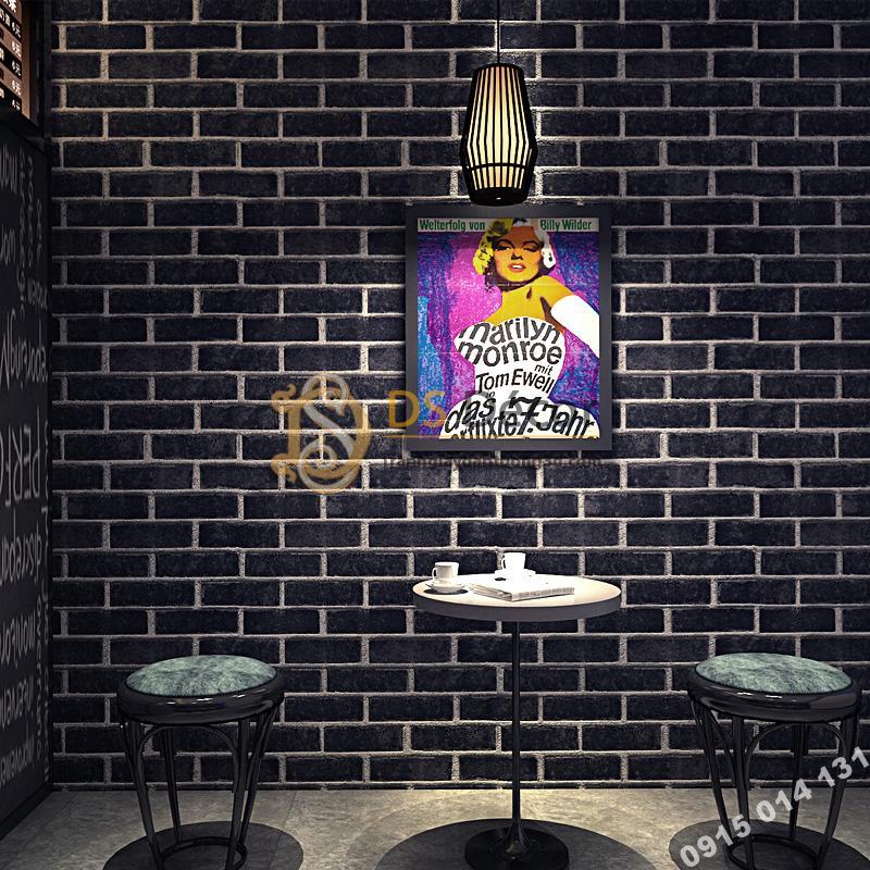 Giấy dán tường giả gạch đen 3D191
