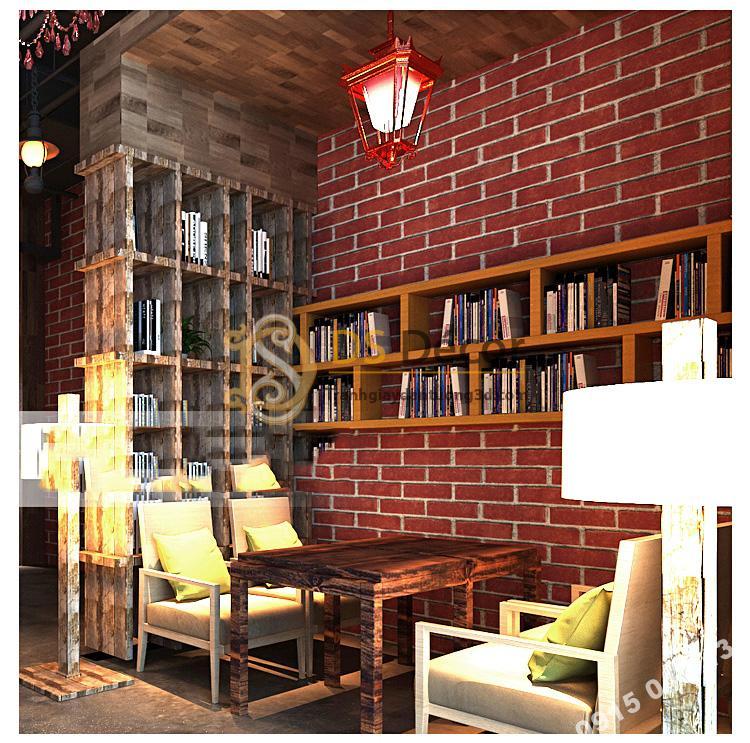 Giấy dán tường giả gạch đỏ 3D191 trang trí quán cafe sách