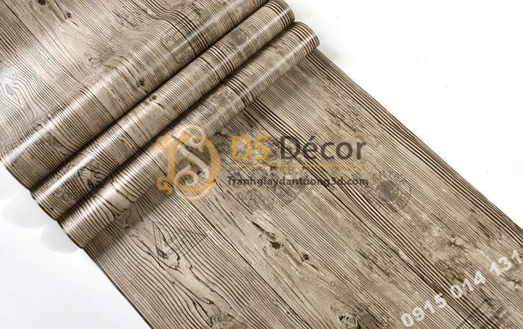 Bề mặt Giấy dán tường giả gỗ xám nâu 3D202 màu nâu nhạt