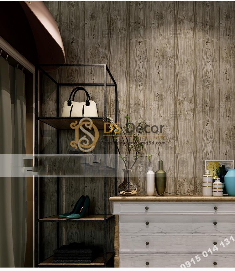 Giấy dán tường giả gỗ xám nâu 3D202 màu nâu nhạt