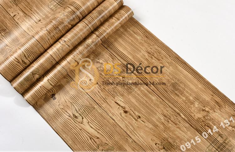 Bề mặt Giấy dán tường giả gỗ xám nâu 3D202 màu nâu vàng