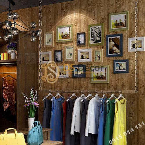 Giấy dán tường giả gỗ xám nâu 3D202 màu nâu vàng