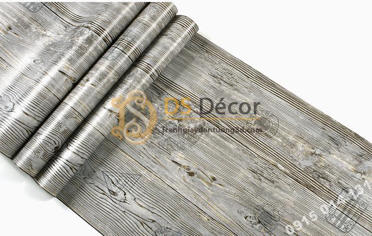Bề mặt Giấy dán tường giả gỗ xám nâu 3D202 màu xám
