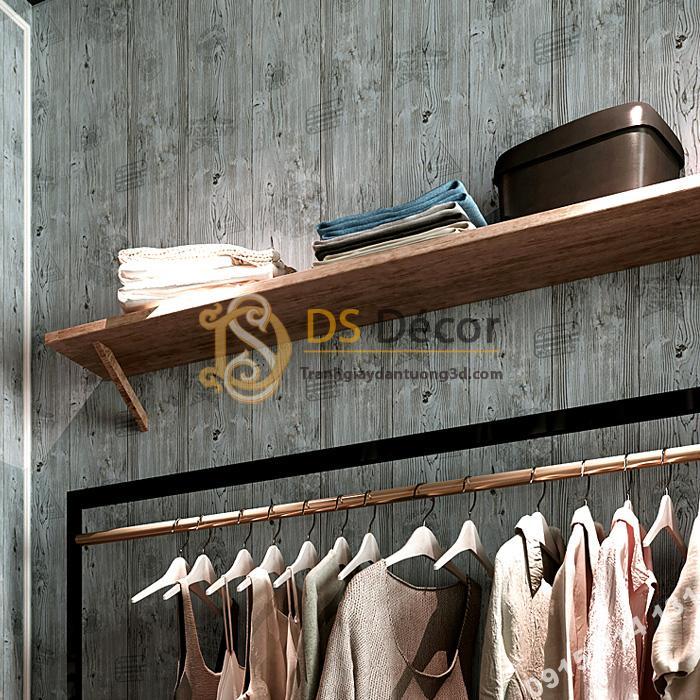 Giấy dán tường giả gỗ xám nâu 3D202 màu xám