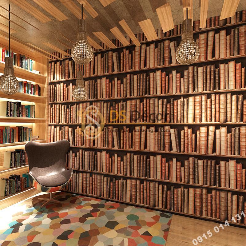 Giấy dán tường giả tủ kệ sách màu nâu 3D189