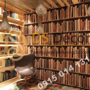 Giấy dán tường giả tủ kệ sách màu nâu 3D189 trang trí phòng ngủ
