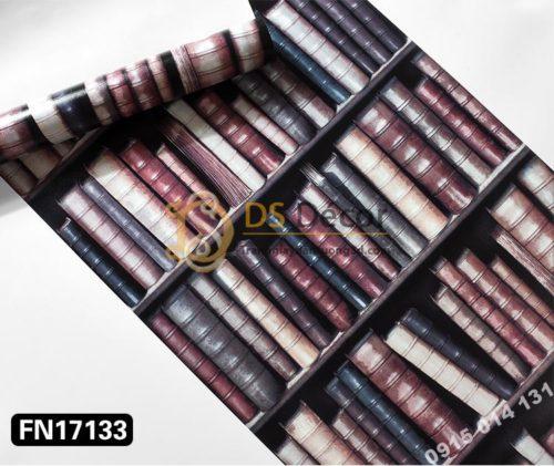 Giấy dán tường giả tủ kệ sách màu tím 3D189
