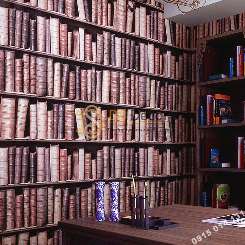 Giấy dán tường giả tủ kệ sách màu tím 3D189 trang trí phòng làm việc