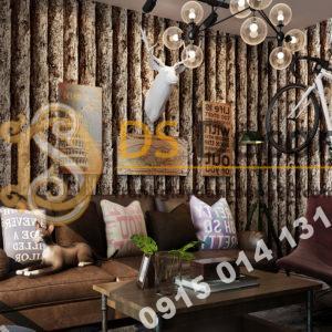 Giấy dán tường giả thân gỗ đen 3D198 trang trí phòng khách