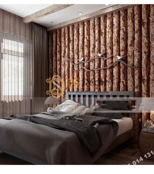 Giấy dán tường giả thân gỗ nâu 3D198 trang trí phòng ngủ