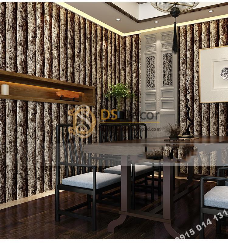 Giấy dán tường giả thân gỗ đen 3D198 trang trí phòng ăn