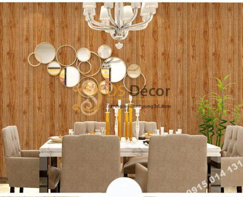 Giấy dán tường vân gỗ 3D190 trang trí phòng ăn
