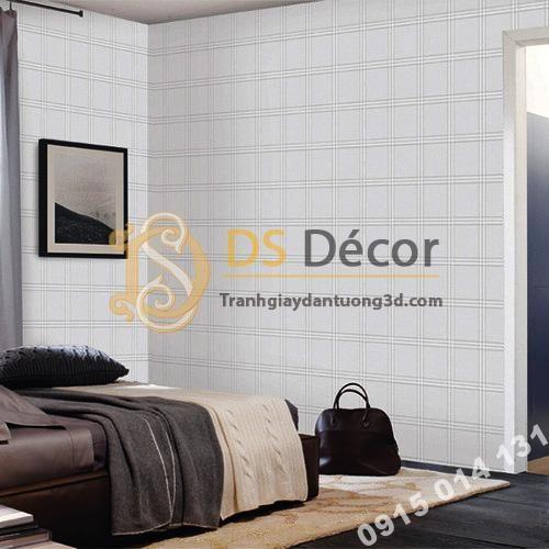 Giấy dán tường hàn quốc caro ô vuông 3DH03 màu trắng