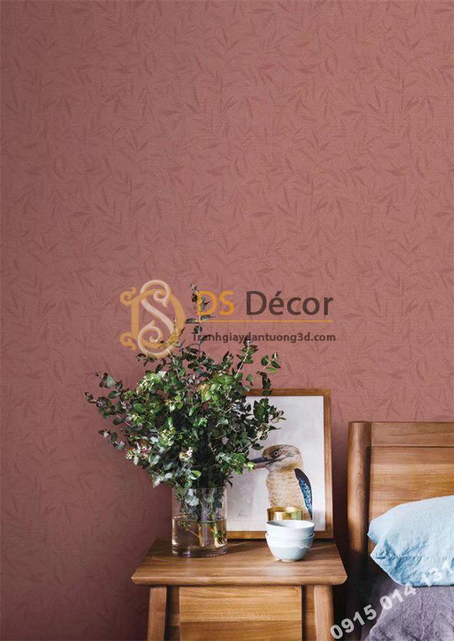 Giấy dán tường hàn quốc họa tiết lá liễu 3DH06 màu đỏ