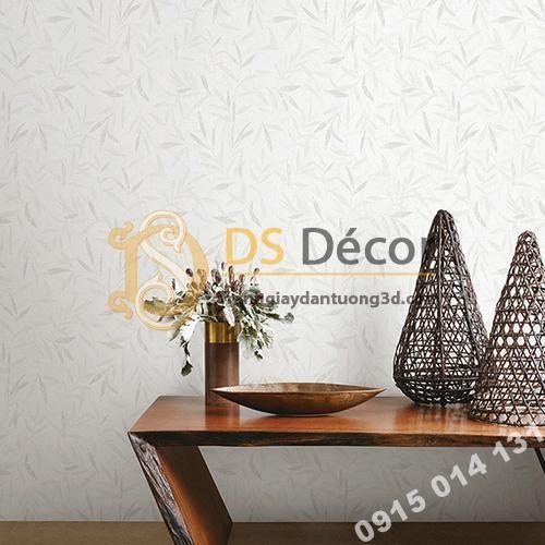 Giấy dán tường hàn quốc họa tiết lá liễu 3DH06 màu trắng