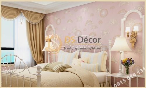 Giấy dán tường hoa bồ công anh to 3D194 màu hồng
