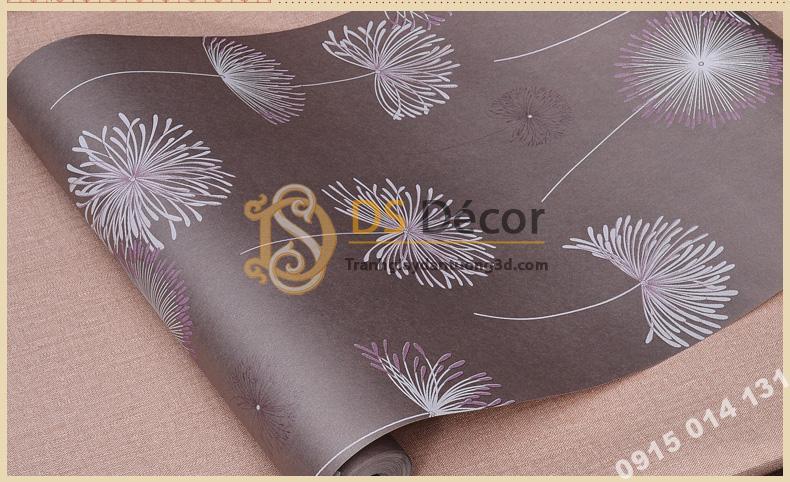 Bề mặt Giấy dán tường hoa bồ công anh to 3D194 màu tím
