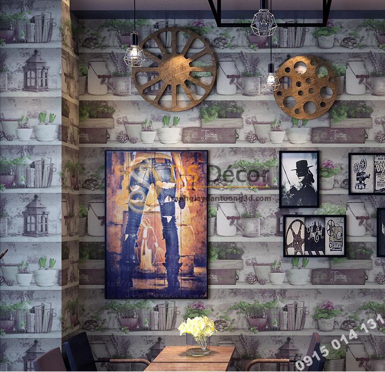 Giấy dán tường họa tiết chậu hoa độc đáo 3D205 trang trí quán cafe