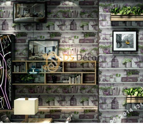 Giấy dán tường họa tiết chậu hoa độc đáo 3D205 trang trí quán trà sữa