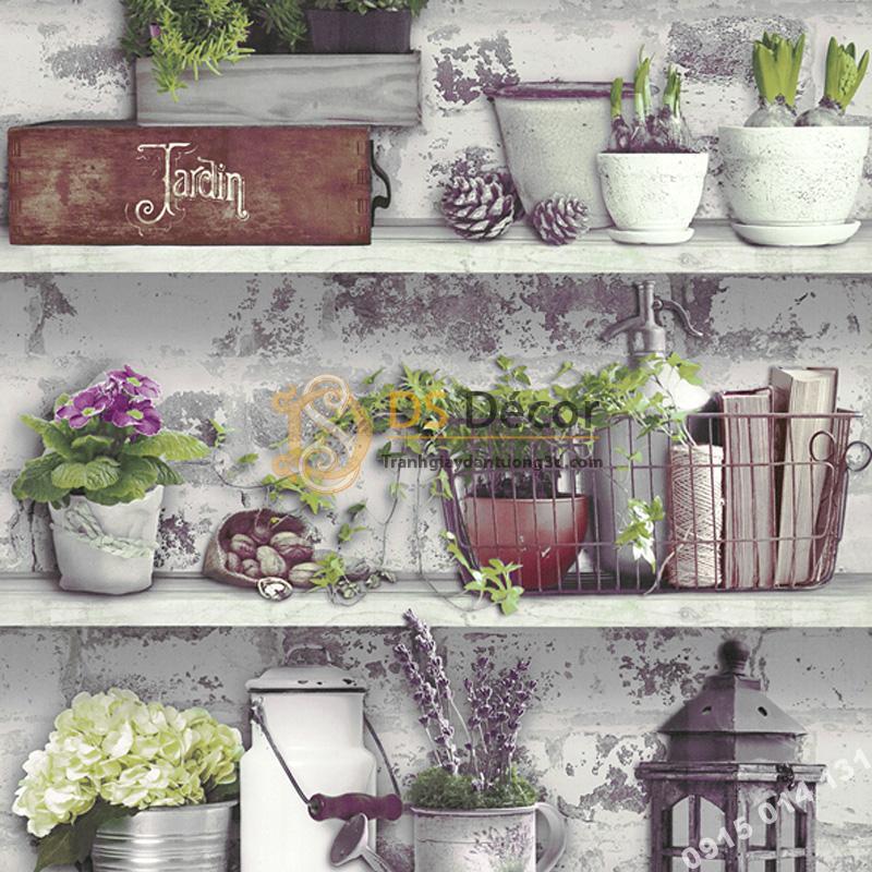 Giấy dán tường họa tiết chậu hoa độc đáo 3D205