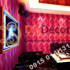 Giấy dán tường họa tiết khổi kim cương màu hồng 3D - 3D199