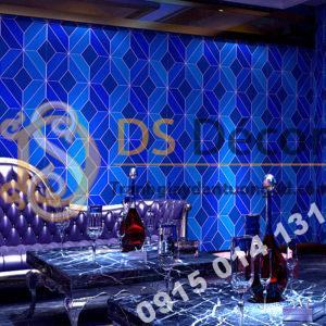 Giấy dán tường họa tiết khổi kim cương màu xanh dương 3D - 3D199