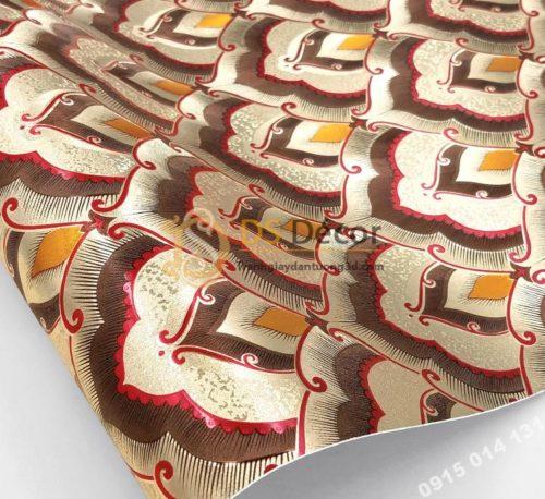 Giấy dán tường họa tiết phật giáo trang trí đền chùa phòng thờ 3D195 màu nâu