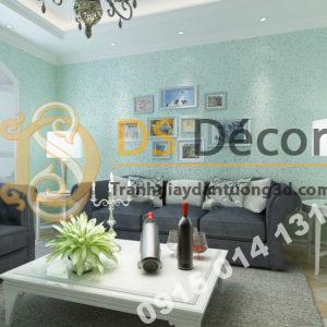 Giấy dán tường kiểu nhám sơn gai 3D204 màu xanh nước biển