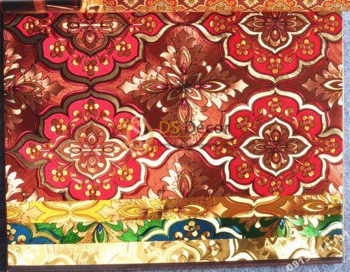 Giấy dán tường phòng thờ hoa cổ điển 3D197 màu đỏ
