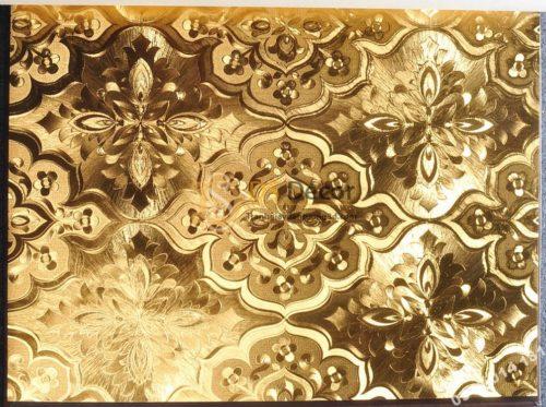 Giấy dán tường phòng thờ hoa cổ điển 3D197 màu vàng