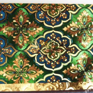 Giấy dán tường phòng thờ hoa cổ điển 3D197 màu xanh