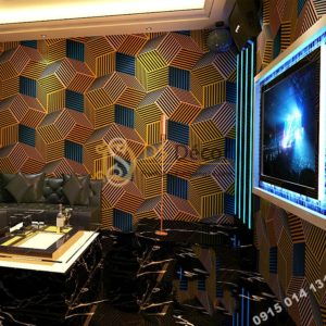 Giấy dán tường quán karaoke hình hộp 3 chiều 3D201- màu cam