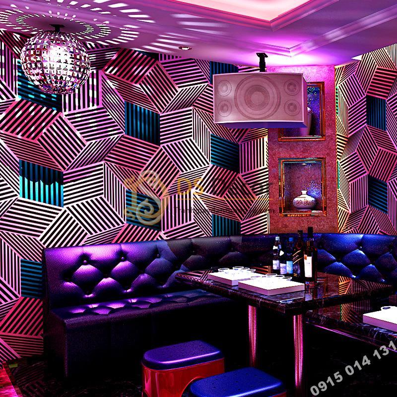 Giấy dán tường quán karaoke hình hộp 3 chiều 3D201- màu tím